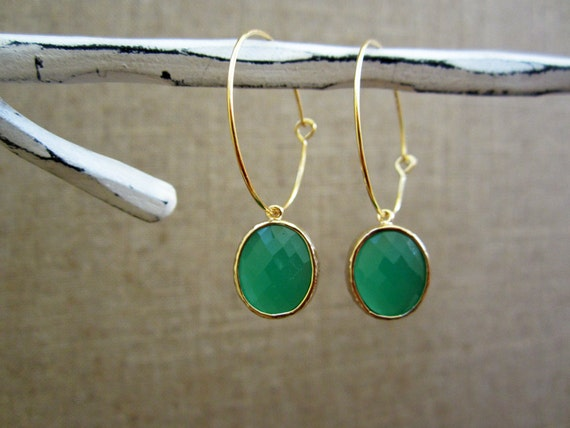 FREE DOMESTIC SHIPPING - Round cut Emerald Green bezel framed glass drop danges on gold plated hoop earring.