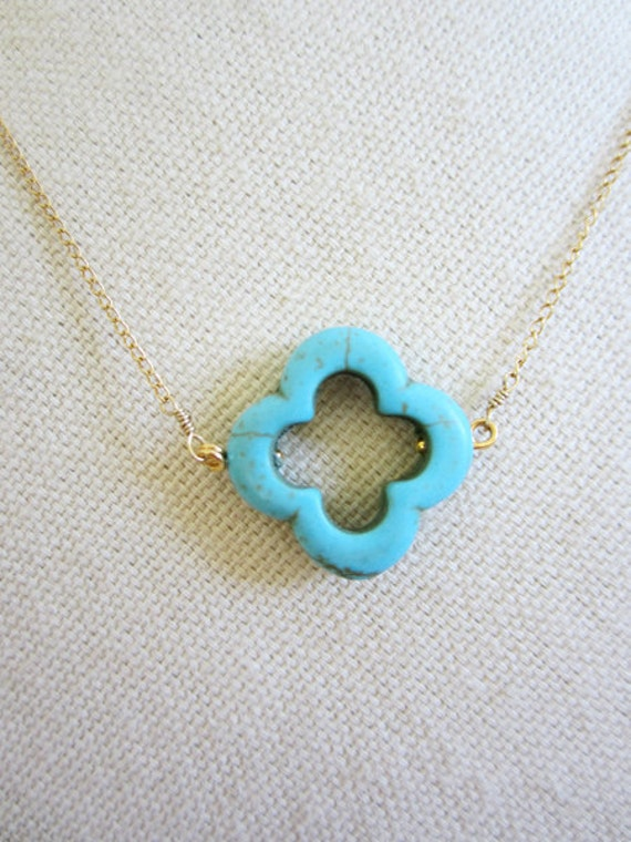 Turquoise Necklace, Turquoise Jewelry, Turquoise wedding Jewelry, Clover pendant, four leaf clover charm necklace, clover jewelry