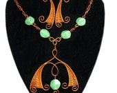Wire Wrapping Necklace and Earrings Firefly Shape Copper and Glass