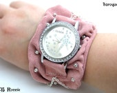 Soft Pink Suede Leather Watch Bracelet with Silvery Embelishments