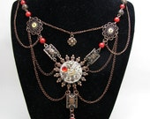 Steampunk Victorian Gothic Statement Necklace Antique Copper Watch Movement Cameo Pendant