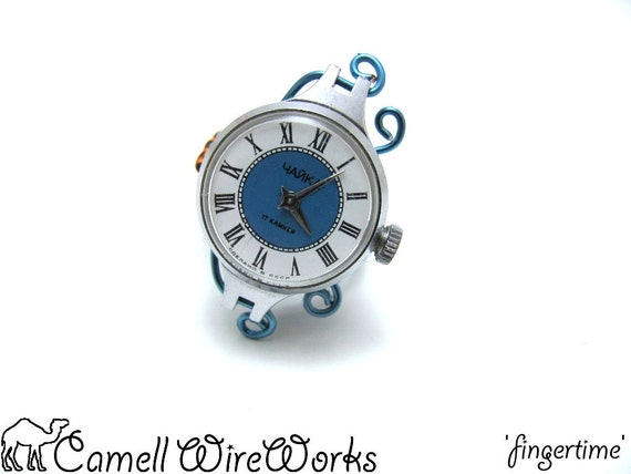 Functional Mechanical Watch Wire Wrapped Adjustable Ring Vintage Russian Clock