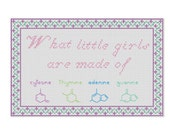PATTERN - What Little Girls Are Made Of Cross-Stitch Sampler PDF