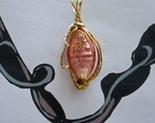 Peach Foil Lamp Bead Pendant, Wire Wrapped in Bronze
