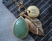 Green and Gold Feather Personalized Charm Necklace