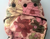 Pink Flowers One Size Fitted Diaper