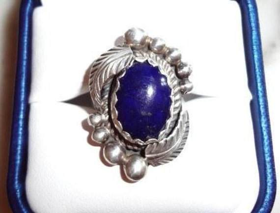 Vintage - Dead Pawn Native American Ladies Silver & Lapis Ring - size approx. 5 1/2