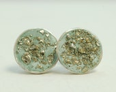 Lush Envy Green Pyrite and Concrete Stud Post Earrings -sterling silver and cement/concrete handmade jewelry