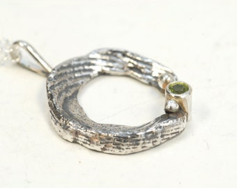 Continuous with light green Peridot -sterling silver handmade jewelry