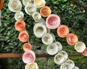 Wedding Garland Paper Flowers Orange, Ivory Peach Pink Book Pages 22 feet