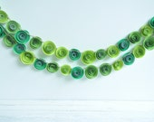 Paper Flower Garland Shades of Green- 4.5 Feet