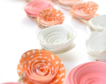 Pink - Orange Paper Flower Garland- Party Decorations