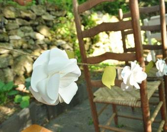 Wedding Garland- Paper Flower Wedding Garland-White Flower Garland