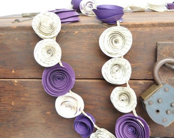 Purple White Flower Garland- Paper Flower Banner- Party Decorations