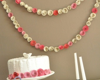 Paper Flower Garland Shades of pink Upcycled book pages- 8 Feet