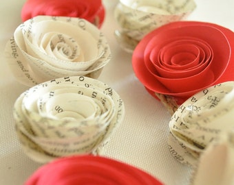 Paper Garland Book Pages and Red Flowers