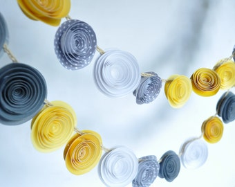 Paper Flower Garland Yellow and Gray Garland Party Decorations