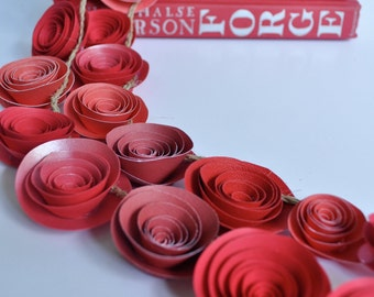 Red Garland, Red Paper Flowers, Paper Flower Garland Shades of Red-Christmas Garland - 5.5 Feet
