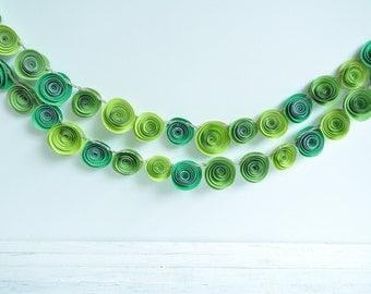 Paper Flower Garland Shades of Green- 4.5 Feet