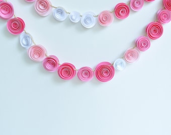 Garland Pink Paper Flower Garland- shower, birthday party, nursery garland-Baby Girl