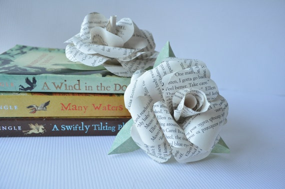Upcycled Paper Flowers-Teacher's Gift Flowers- Book Page Paper Flowers