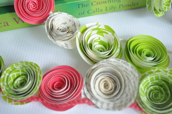 Pink Green Paper Flower Garland- Birthday Party- Baby Shower- Home Decor-Paper Banner