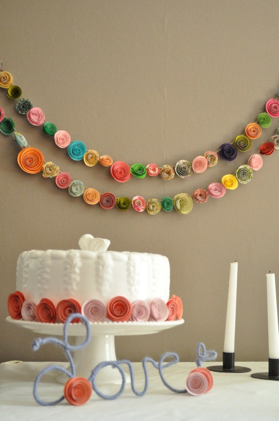 Colorful Paper Flower Garland Shower garland Wedding Flower Garland