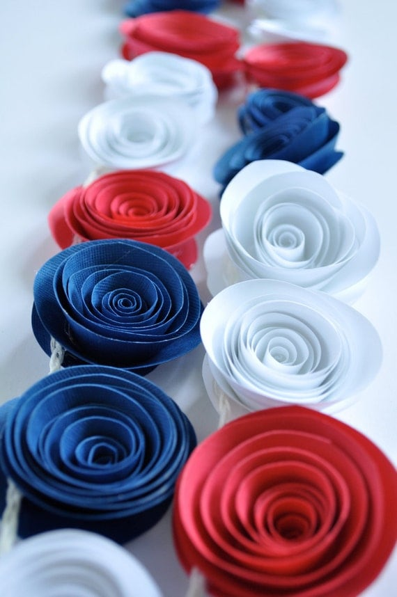 Patriotic Garland Red, White, Blue Garland, Fourth of July Decoration