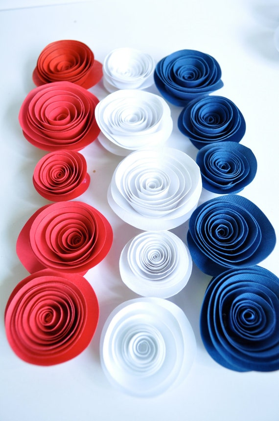 Patriotic Paper Flowers Red, White and Blue Paper Flowers  Table Decorations 25 flowers