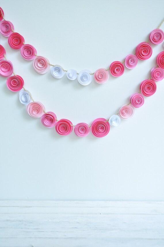 Garland Pink Paper Flower Garland- shower, birthday party, nursery garland-Baby Girl