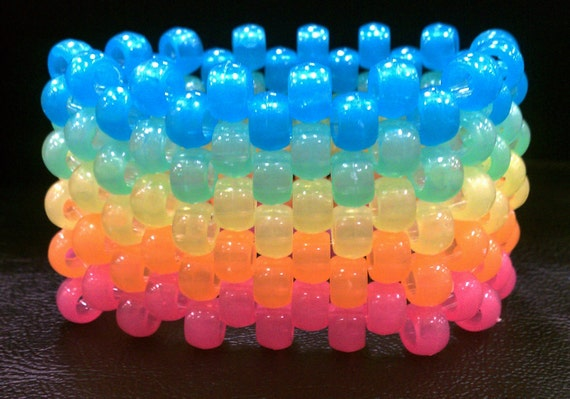 Glow in the dark Rainbow Kandi Cuff