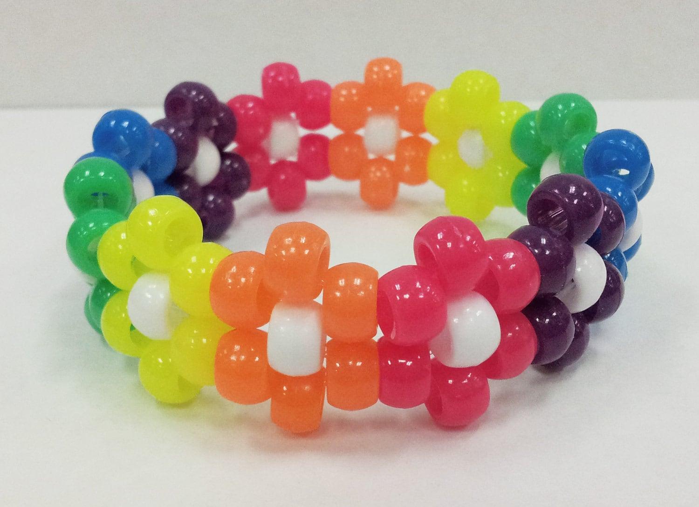 rainbow neon flower kandi cuff beaded bracelet