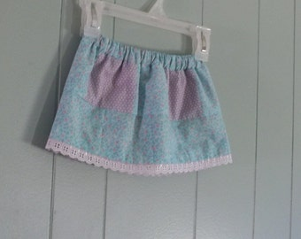 Girls patchwork skirt, toddler skirt, lined in pink cotton sateen, vintage lace trim, size 18 months mo to 24 month 1 yr old quilted farm