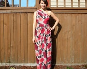 Jersey Knit, Grey & Pink Floral Print Maxi Summer Dress with One Shoulder, Small or Med