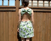 Backless Bow Summer Dress, Neon Green, Blue, & White Floral Print with Pockets, Small