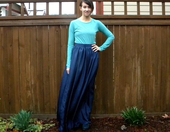Full Navy Maxi Skirt, SILK Skirt High Waist Long Skirt, Small