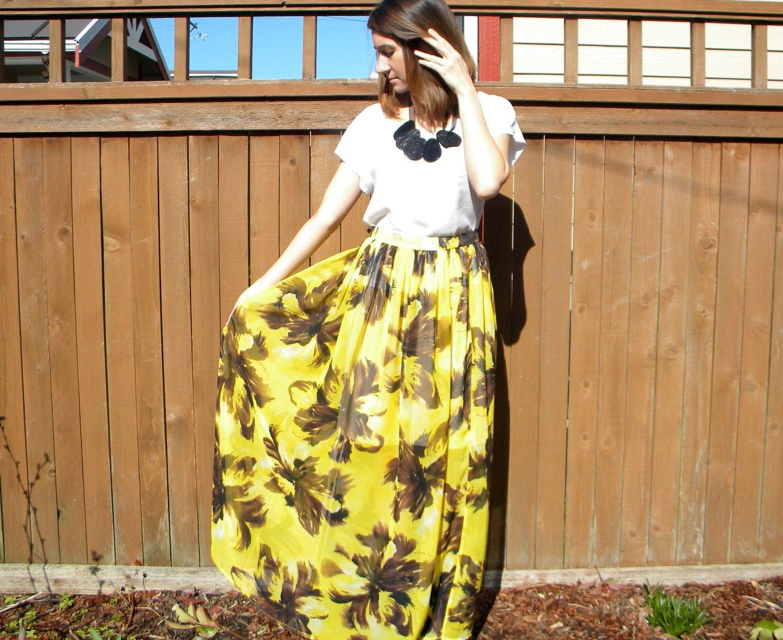 maxi skirt bright yellow floral print high waist