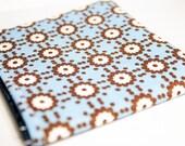Men's Bifold Wallet- MOD Geometric Flowers / Gears in Blue, Brown, and White
