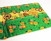 Retro Bifold Wallet- Floral Print with MOD Lining - Kelly Green with Orange and Yellow Flowers