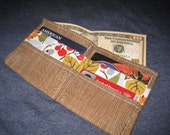 Men's Bifold Wallet- 1960s- MOD Style Hipster Tree Bark with Multicolor Floral