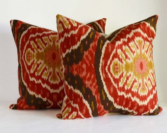 Two 18x18'' accent Pillow Decorative Pillow berry red ikat Throw Pillow Cushion cover  18x18''