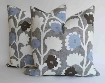 TWO 18 x 18''  Decorative Pillow  Accent Pillow Modern Vine floral Design Throw Pillow cover