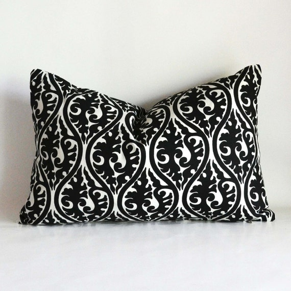 Decorative Black Lumbar Pillow : Decorative Pillow 12 x 18 lumbar black tribal design