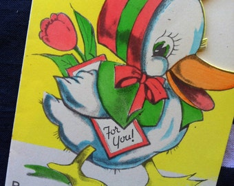 40s EASTER DUCKLING CARD