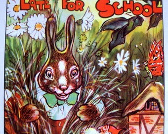 1940s BUNNY RABBIT GNOME Why Bunny Was Late For School