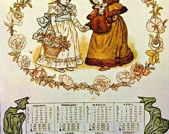 1800s CALENDAR KATE GREENAWAY Print Ideal for Framing