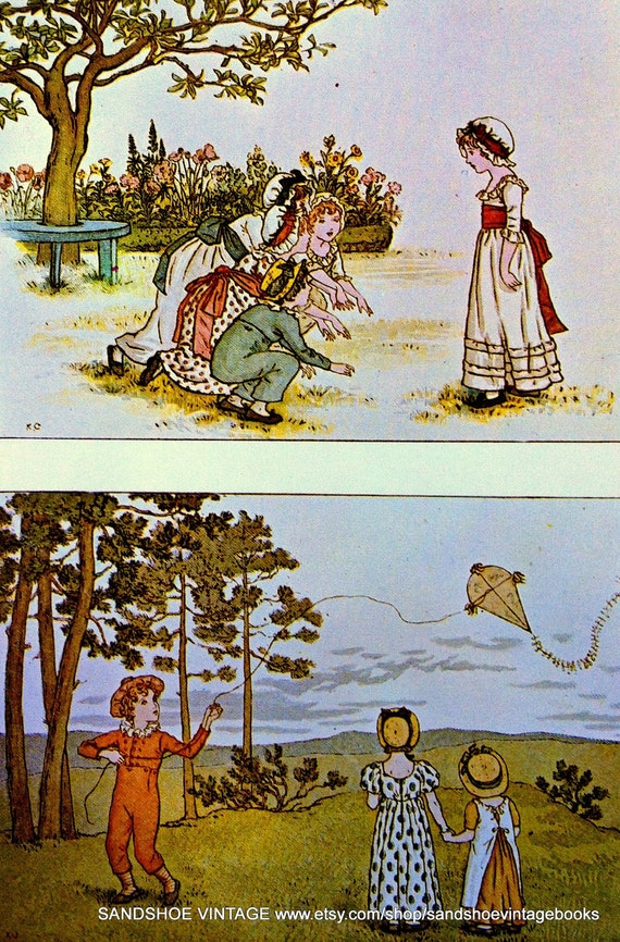 1800s GAMES KATE GREENAWAY Print Ideal for Framing
