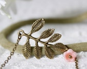 Antique Brass Necklace, Leaves and Flower Necklace