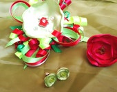 Disney Princess The Little Mermaid Accessories hairbow/pin, peridot Swarovski crystal ring and earrings princess set