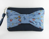 SUPER SALE - Navy Blue Bow Clutch - iPhone 5 Wallet, iPhone Wristlet, Cell Phone Clutch,Cosmetic Bag,Camera Bag,Zipper Pouch - Made To Order
